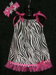 Zebra & Hot Pink Infant Childs Pillowcase Dress w/Bow