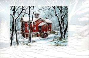 16 Boxed Embossed Christmas Cards Mill in Snow