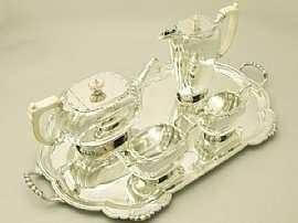 Vintage Art Deco Sterling Silver 4Pce Tea Service