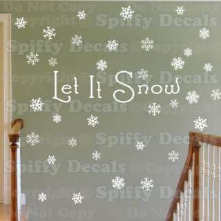 LET IT SNOW OVER 60 SNOWFLAKES CHRISTMAS HOLIDAY WINTER Vinyl Wall