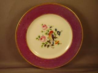 SET VINTAGE PORCELAIN HP EXOTIC BIRD & ROSES PLATES (3)