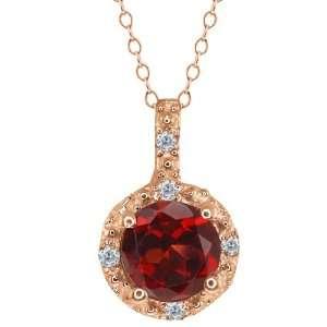 0.63 Ct Round Red Garnet and White Diamond 18k Rose Gold