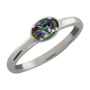 0.26 Ct Oval Green Mystic Topaz Argentium Silver Ring