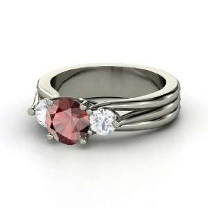 Three Part Harmony Ring, Round Red Garnet Sterling Silver