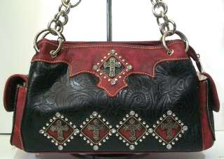 ROAD WESTERN COWGIRL BLACK RED RHINESTONE CROSS PURSE HANDBAG