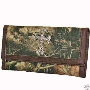 WESTERN RHINESTONE CAMO CROSS WALLET CHECKBOOK PURSE
