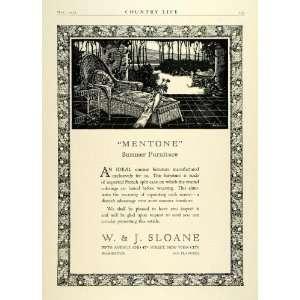 1923 Ad W J Sloane Mentone Wicker French Split Cane Summer Furniture