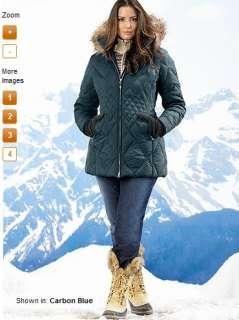 Eddie Bauer Women BLACK Slope Side GOOSE DOWN PARKA coat jacket XLT XL