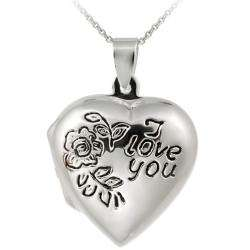 Sterling Silver I Love You Heart Locket Necklace