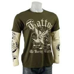 Hardy Mens Premium Eagle Tattoo Double Sleeve T shirt