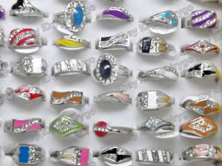 wholesale jewelry lots 10 mix fashion crystal rings HE3