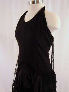 Vintage 80s Grunge Goth Black Lace Halter Dress Sz 6