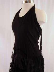 Vintage 80s Grunge Goth Black Lace Halter Dress Sz 6