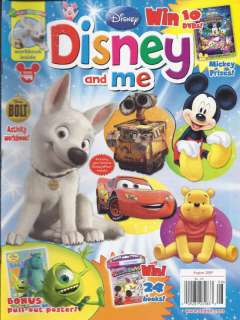 DISNEY AND ME MAGAZINE BOLT MICKEY MOUSE WALL E CARS