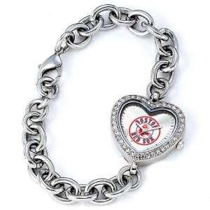 Boston Red Sox  Logo  MLB Silver Rhinestone Ladies Heart