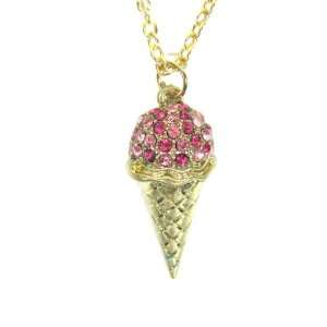 Ice Cream Cone Necklace Pink Crystal Gold Summer Charm Retro Vintage