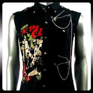 The Clash Punk Rock Biker Sleeveless Men Shirt Sz S