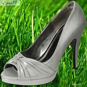 Bridesmaids Bridal Dress High Heel Pump Shoes Silver 8