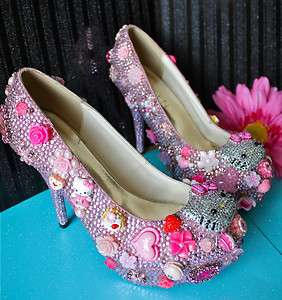 HELLO KITTY PINK CRYSTAL HIGH HEEL BRIDAL PLATFORM DRESS SHOES 7.5