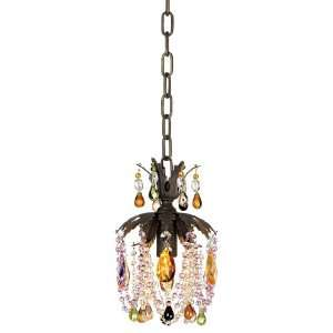 Multi Colored Crystal Chain Hung Pendant Chandelier