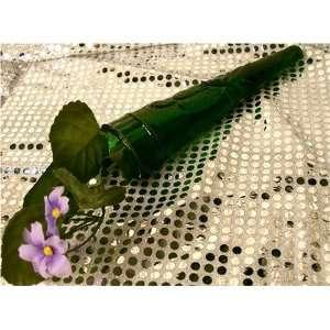 Glass Wall Pocket Flower Bud Vase   Emerald Green