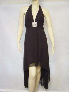 NEW ALYN PAIGE BLACK CHIFFON BEADED HALTER DRESS 3/4