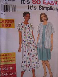 Simplicity Pattern 7574 Womens EASY Dress 18W 28W FF