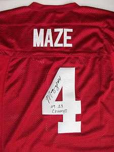 Marquis Maze SIGNED Alabama Crimson Tide Nike Football Jersey AUTO