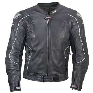Armored Mens Leather Motorcycle Jacket Perforated Leather Panels M 3X