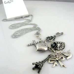 Eiffel Tower Heart Flower Cross Dove Key Charm Pendant Necklace