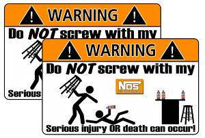NOS Energy Drink Warning Sticker Decal Can Race Kyle