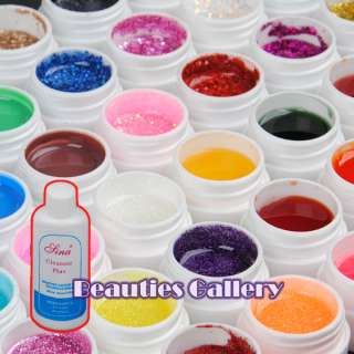 48 Color UV GEL Nail ART Nails Gel GLITTERY transparent solid cleaser