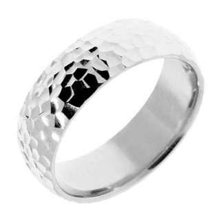 Mens 8mm Polished Hammered White Gold 14K Wedding Ring.   Mens, size