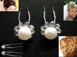 Bridal Flower Pearl Rhinestone Hair pins picks stick