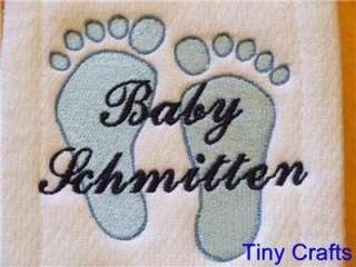 Footprint Burp Cloths Personalized Custom Baby/Shower