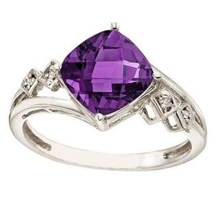 Pear Shaped Amethyst and Diamond Cocktail Ring 14k White Gold  Allurez