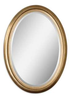 Distressed Antique Gold Finish Frame Oval Wall Mirror
