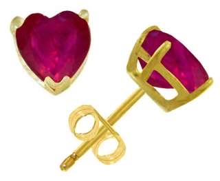 Natural Red Ruby Heart Shaped Gemstone Studs 14K Solid Yellow Gold