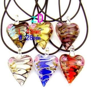 MultiColor Floral Heart Love Murano Lampwork Glass Pendant Necklace