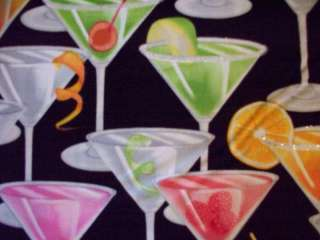 COCKTAIL ANYONE MARTINI GLASS GLAM COTTON FABRIC FQ