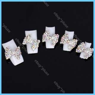 Alloy AB Rhinestones Bow Tie Nail Art Glitters Decorations NEW