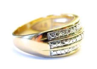 Two Tone Gold Plated / Sterling Silver Textured Fashion Band Ring