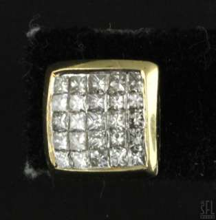 GOLD INVISIBLE SET 2.0CT SI 1/H PRINCESS DIAMOND CLUSTER STUD EARRINGS