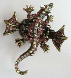 COLORS SWAROVSKI CRYSTAL BRONZE LIZARD GECKO HAIR CLAW CLIP 137