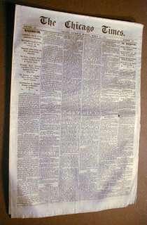 Rare 1870 CHICAGO TIMES newspaper PRE FIRE imprint