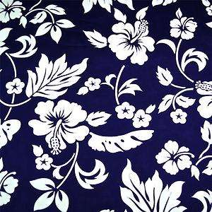 Hawaiian Print Cotton Fabric Navy Blue & White Hibiscus, Per FQ