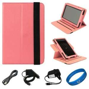 SumacLife Pink Textured Leather Folio Case Cover with Fold to Stand