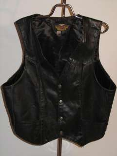 GENUINE VINTAGE HARLEY DAVIDSON BLACK LEATHER WOMENS VEST MADE IN