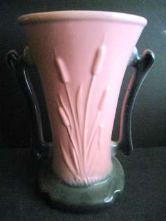 Vintage Art Pottery Hull Handled Vase Pink & Black W/Cat Tails