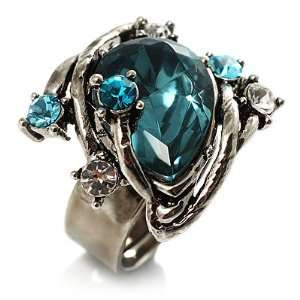 Vintage Pear Cut Crystal Cocktail Ring (Teal&Clear) Jewelry